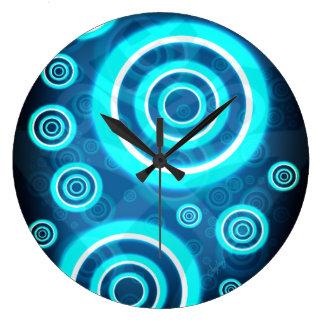 Blue Glowing Cosmic Rings Large Clock