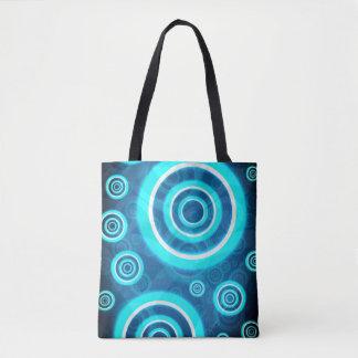 Blue Glowing Cosmic Rings Tote Bag