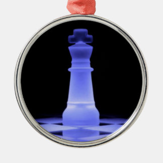Blue Glowing King Chess Piece Metal Ornament