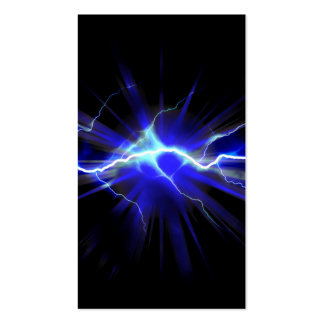 Blue glowing lightning or electricity business card
