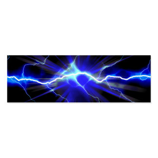 Blue glowing lightning or electricity mini business card