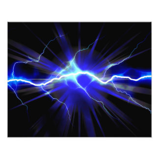 Blue glowing lightning or electricity photo print