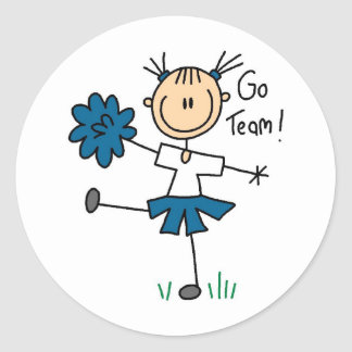 Blue Go Team Cheerleader T-shirts and Gifts Classic Round Sticker