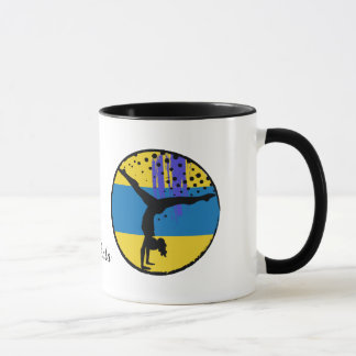 Blue Gold Abstract Art Gymnast Personalized Mug