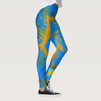 blue gold abstract symbol leggings