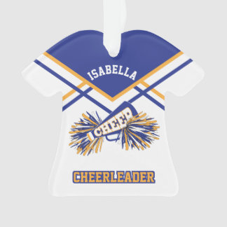 Blue, Gold and White Cheerleader Ornament
