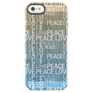 Blue, Gold and White Peace Love Typography Clear iPhone SE/5/5s Case