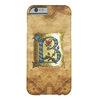 BLUE GOLD B LETTER WITH FLOWERS MONOGRAM BARELY THERE iPhone 6 CASE