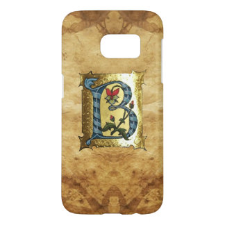 BLUE GOLD B LETTER WITH FLOWERS MONOGRAM SAMSUNG GALAXY S7 CASE