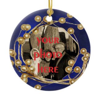 Blue Gold Ball Frame Photo Ornament