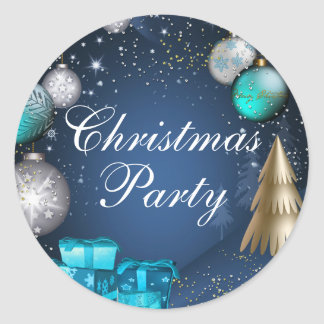 Blue & Gold Bauble Christmas Party Sticker