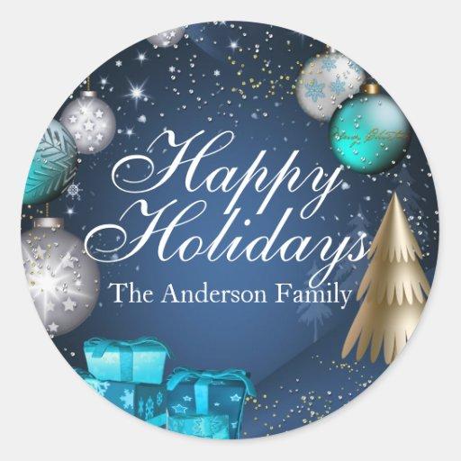 Blue & Gold Bauble Happy Holidays Sticker