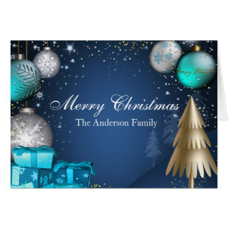 Blue & Gold Bauble Merry Christmas Card