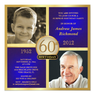 Blue Gold Birthday Invitations Then & Now 2 Photos