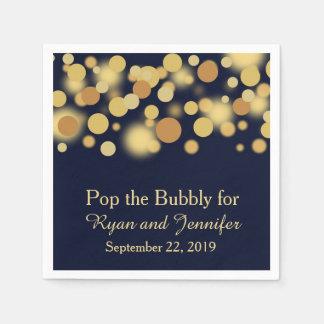Blue Gold Bokeh Personalized Wedding Napkins Paper Napkins