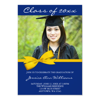 Blue Gold Bow Photo Graduation Announcement