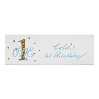 Blue & Gold Boys ONE 1st Birthday Party Banner Poster