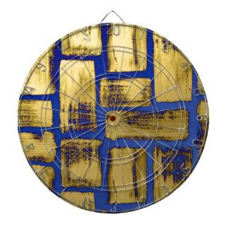 Blue Gold Brushstroke Watercolor Pattern Dartboard With Darts