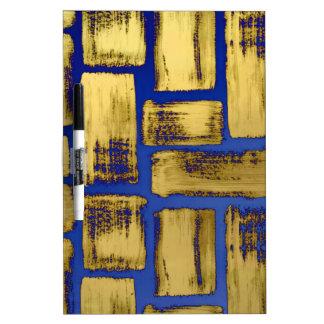 Blue Gold Brushstroke Watercolor Pattern Dry Erase Board