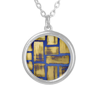 Blue Gold Brushstroke Watercolor Pattern Silver Plated Necklace