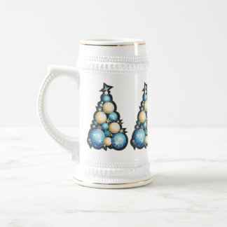 Blue & Gold Bubbles Christmas Trees Beer Steins