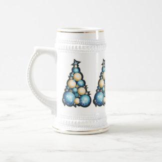 Blue & Gold Bubbles Christmas Trees Coffee Mug