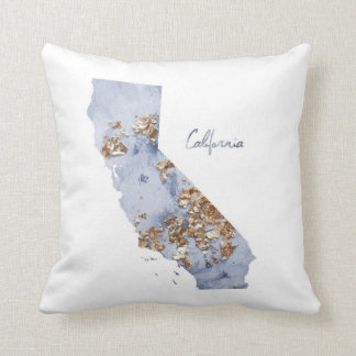 Blue & Gold California State Map Throw Pillow