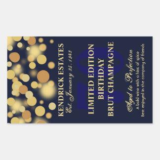 Blue Gold Champagne Bubbles Birthday Label 750ml