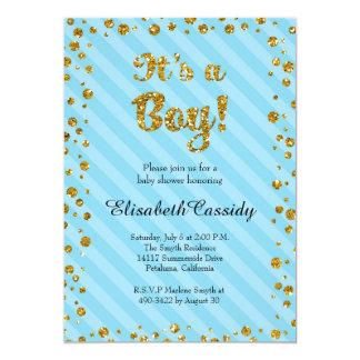 Blue Gold Confetti Baby Boy Shower Invitation