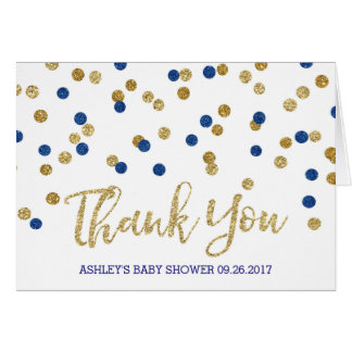 Blue Gold Confetti Baby Shower Thank You Card