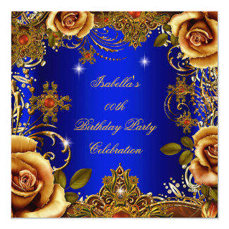 Blue Gold Cream Rose Elite Women's Birthday Party Card