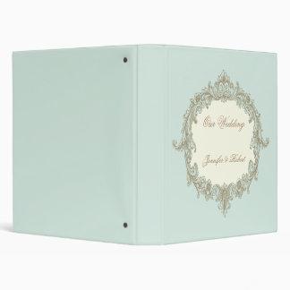 Blue Gold Cream Vintage Frame Wedding Binder