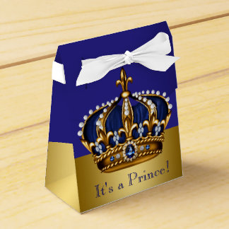 Blue Gold Crown Prince Baby Shower Party Favor Boxes