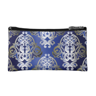 Blue. Gold Damask Cosmetic Bag