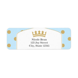 Blue & Gold Dots Royal Crown Prince Address Labels
