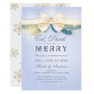 Blue & Gold Eat Drink Merry Christmas Party Invite