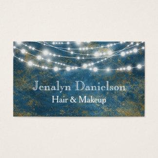 Blue Gold Elegant Festive Hanging String Lights Business Card