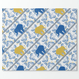 Blue Gold Elephant Floral Safari Jungle Pattern Wrapping Paper