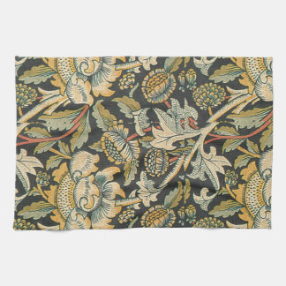 Blue Gold Floral Fabric Kitchen Towel