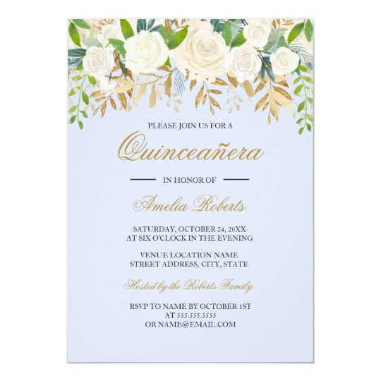 Blue Gold Floral Leaf Watercolor Quinceanera Card
