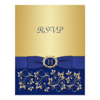 Blue, Gold Floral Scroll Wedding Reply Card
