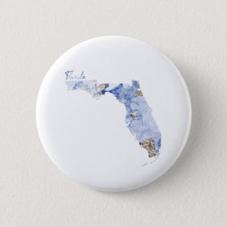 Blue & Gold Florida State Map 2 Inch Round Button