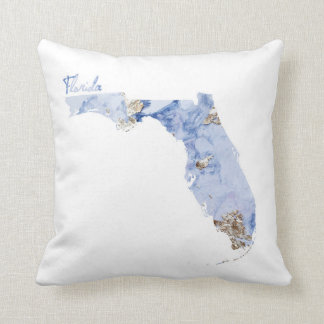 Blue & Gold Florida State Map Throw Pillow