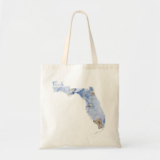 Blue & Gold Florida State Map Tote Bag