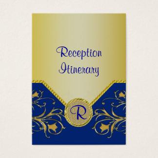 Blue & Gold Flowering Vines Monogram Wedding Business Card