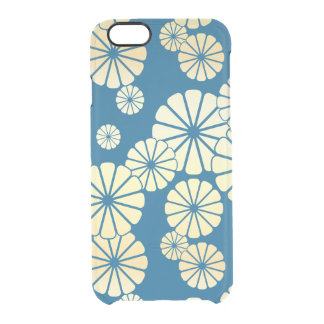 Blue gold foil glam daisy bloom pattern clear iPhone 6/6S case