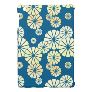 Blue gold foil glam daisy bloom pattern iPad mini case