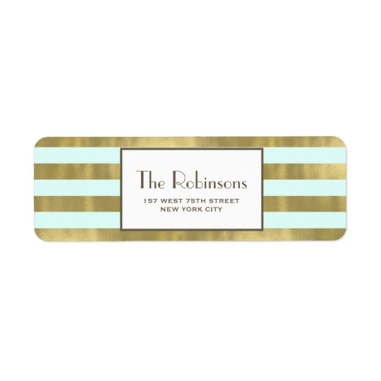Blue Gold Foil Stripes Address Label