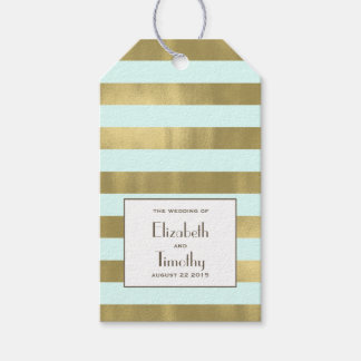 Blue Gold Foil Stripes Gift Favor Tag Pack Of Gift Tags