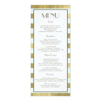 "Blue Gold Foil Stripes Menu 4"" X 9.25"" Invitation Card"